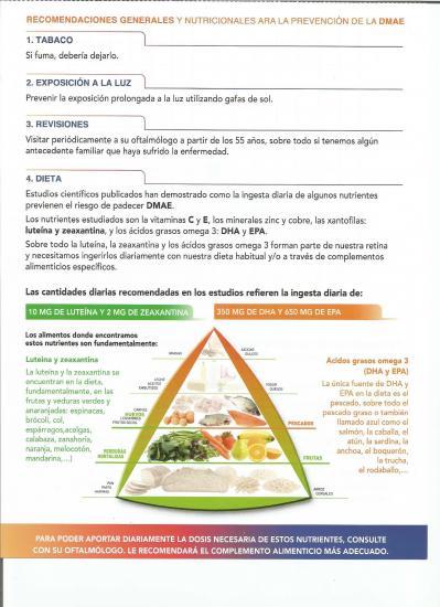 Recomendaciones generales y nutricionales para prevención DMAE