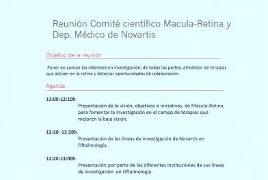 Reunión comité científico Mácula Retina y departamento médico de Novartis/Alcon